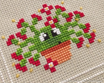Gabriel the Christmas Cactus Cross Stitch Pattern PDF | Prickly but Cute Stitch-a-Long | Easy | Modern | Beginners Counted Cross Stitch