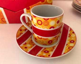 Vintage 10 PC Imperial Bright Orange and Red Demitasse Espresso Cup and Saucer - Set of 4