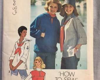 Vintage 70s Pullover Tops Sewing Pattern Simplicity 7564  Misses'  Bust 31.5-32.5 Inches Complete How to Sew Pattern