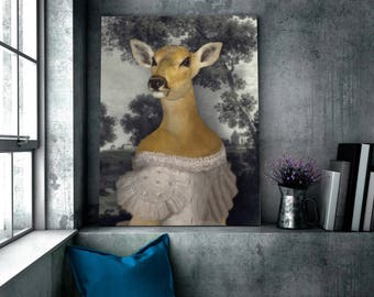 AIDA - portrait of a female deer in romantic dress,  animal portrait in costume, gift idea, customizable with your pet's photo