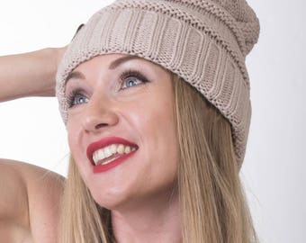 Autumn and Winter Thick Slouchy Knit Oversized Beanie Cap Hat, 10 colors Available