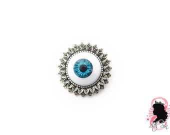 Antique Silver & Blue Eyeball Brooch, Blue Eye Brooch, Blue Evil Eye Brooch, Silver Eyeball Brooch, White Eyeball Brooch, Doll Eye Brooch
