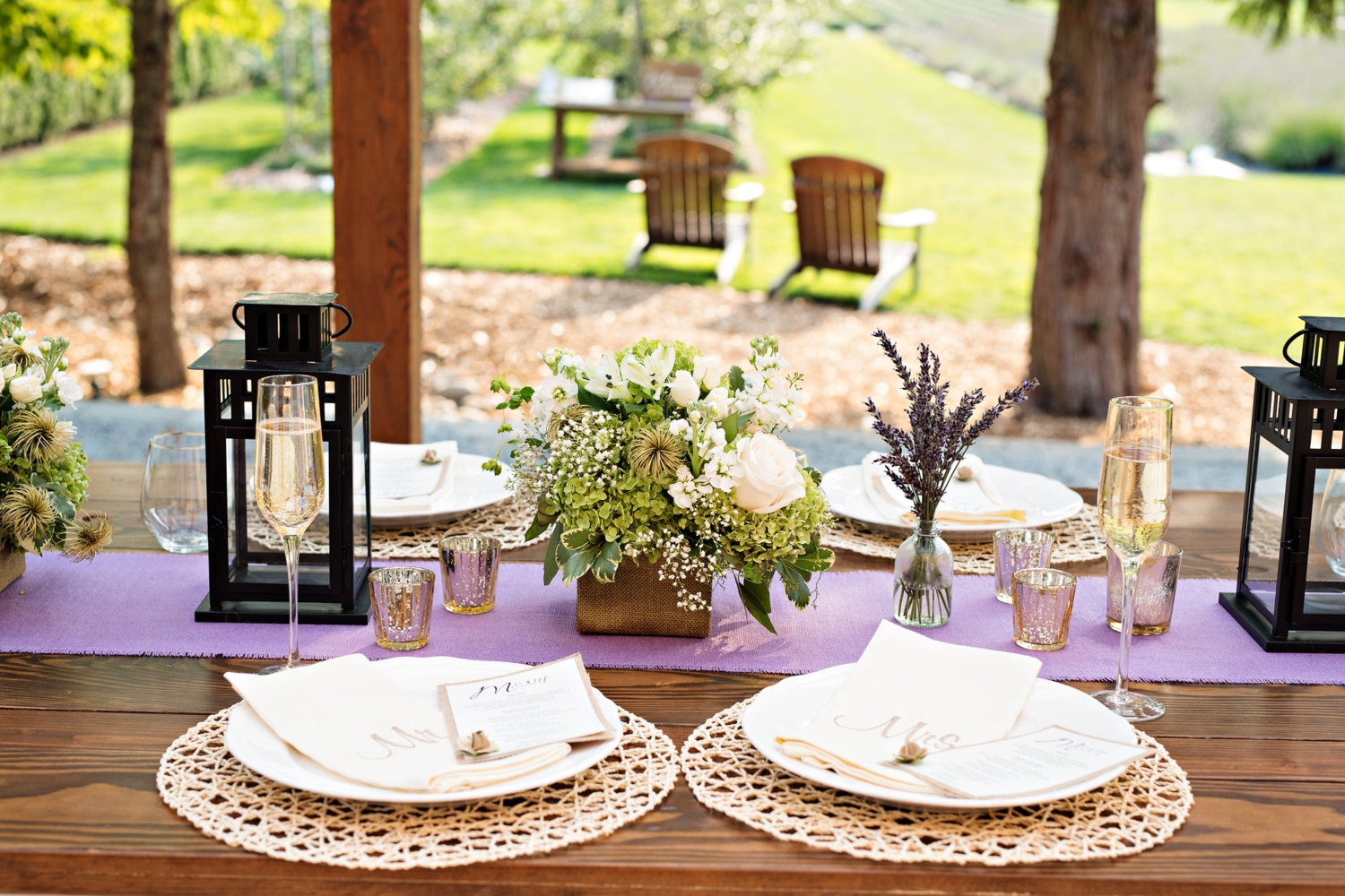 Lavender Burlap Table Runner Bridal Shower Decorations