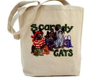 Halloween Tote Bag - Cotton Canvas Tote Bag - Trick or Treat Bag - Cat Tote Bag