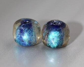 Blue Dichroic Glass Beads - Pair - Blue Glass Beads - 12mm