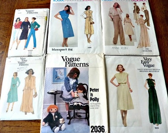 Vogue Patterns Bundle  Uncut Size 8 1970's Vintage BulkPattern Destash 1883, 1928, 2096, 7570, 7153, 2036