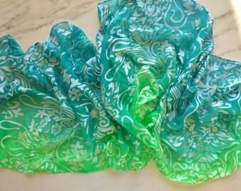Silk Scarf Chiffon Devore Scarf Shimmering Silk Scarf