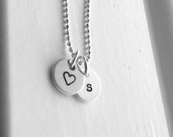 Tiny letter s Necklace, Sterling Silver Initial Necklace, Heart Necklace, Charm Necklace, Initial Jewelry, Personalized Jewelry, All Letters