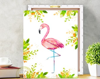 Flamingo, Flamingo Print, Flamingo Art, Pink Flamingo Art, Modern Flamingo, Flamingo Home Decor, Flamingo Decor, Flamingo wall art, Canvas