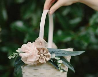 Flower Girl Basket Rose Gold |Oval Bamboo Basket | Shabby Chic | Wedding Basket | Blush Flowers |  Wedding Accessories | Ivory Flower Basket