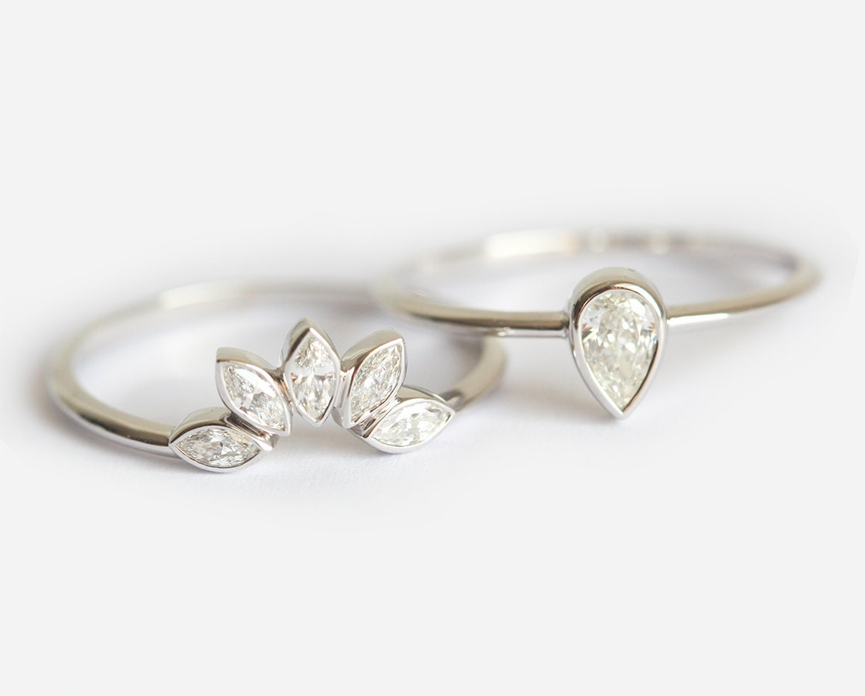 Pear Diamond Engagement Ring Matching Marquise Diamond