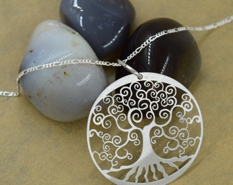 Sterling Silver Thin Tree of Life Pendant with Chain