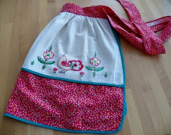 Vintage 1960's Cotton Half Apron with Embroidered Bird and Flower Motif