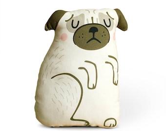 Pug Cushion, pug pillow, pug soft toy, cuddly toy, plushie