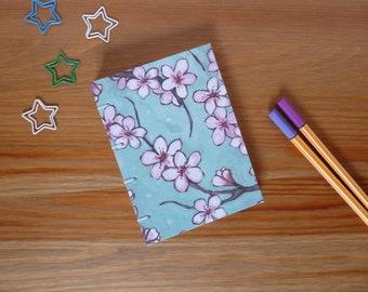 Hand bound notebook, bullet journal, A6, cherry blossom, blank book, Coptic stitch, sketchbook, journal, notebook, pocket book