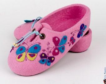 Girls felted Slippers Childrens slippers Mistress of butterfly - Eco-friendly handmade wool felt slippers