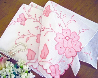Vintage Madeira Handkerchief, Pink Flower Appliques, Hand Embroidered, New Old Stock, 1 Available, MINT