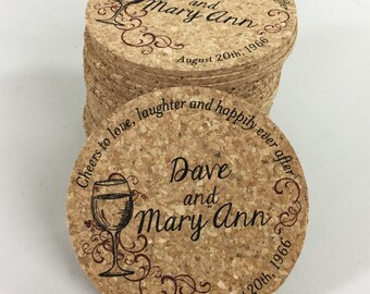 Wine Themed Cork Coaster Wedding Favors // Anniversary Vow Renewal Favors Personalized with Names and Wedding Date