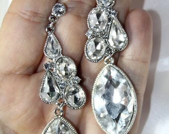 Rhinestone Chandelier Earrings Bridal Prom Pageant 3.4 inches Clear Marquise