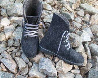 Outdoor felted womens black boots with rubber soles. Organic wool shoes. Size 5