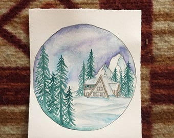 Snowy Cabin- Original Painting