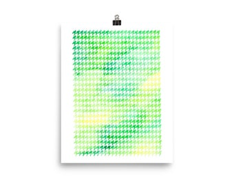 Houndstooth watercolor green unframed poster print home decor housewarming gift modern art geometry pattern