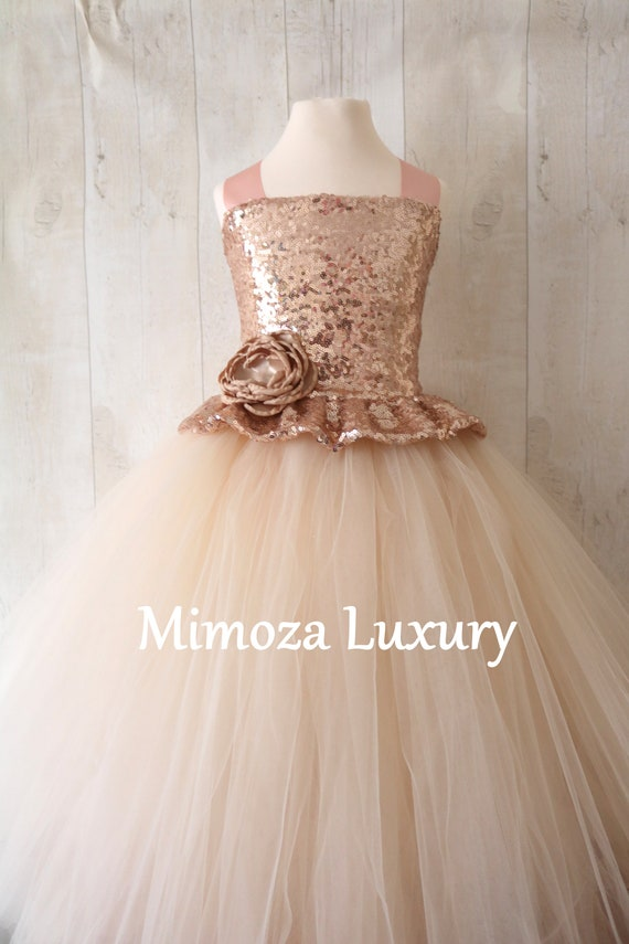 Champagne Flower Girl Dress, rose gold bridesmaid dress, couture flower girl gown, bespoke girls dress, tulle princess dress, rose gold tutu