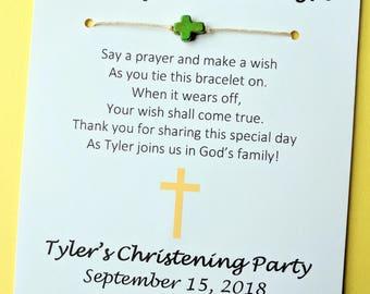 A Baptism Wish - Baptism Christening Cross Bead Wish Bracelet Party Favor Custom Made for You