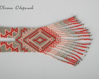 Ukrainian necklace Beaded Long necklace Red gray Ukraine jewelry