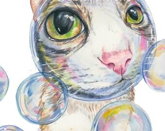 Cat Watercolor Painting Fine Art PRINT - Soap Bubble, Nursery Art, Cute Cat, Tabby Cat, Animal Watercolour Painting