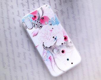 iPhone X - Opéra chinois féminin, TPU Boîtier souple, Translucide Boîtier souple, Cristaux de Swarovski, Fleurs