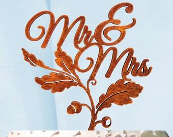 Mr & Mrs Cake Topper, Wedding Cake Topper, Wedding decor, Fall Wedding, Autumn Wedding Cake Topper