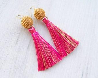 Tassel earrings in hot pink and gold - Statement beaded ball earrings - Lightweight  Dangle long silk tassle earrings - Bright earrings