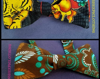 Adjustable Bow Tie  - Chocolate Teal Paisley or Tiger Tattoo Flames