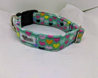 The Schatzi - Custom Handmade Flannel Dog Collar, Heart, Love, Sweet, Pastel, Multiple Options