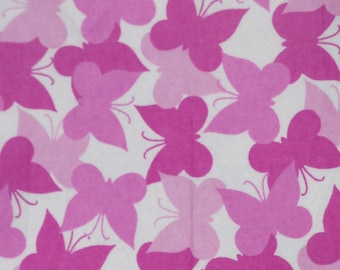Pink Butterflies! Flannel by the yard