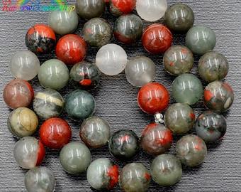 African Bloodstone Beads, Bloodstone 8mm, Gemstone Beads, Mixed beads, Round Natural Beads, 15''5  6mm 8mm 10mm 12mm