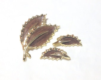 Vintage Sarah Coventry Brown Leaf Pin and Clip Earrings