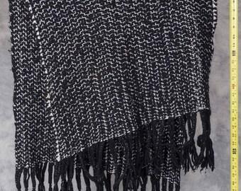 Vintage Black Silver Thread Scarf 1950's