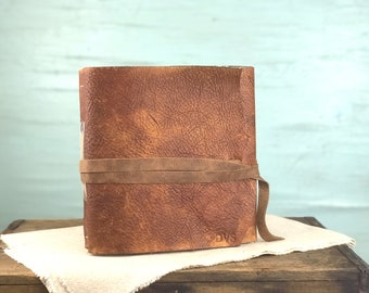 Large Personalized Leather Journal with Title Page Large Blank Leather Book Large Handmade Leather Journal