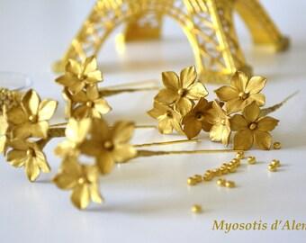 hair pin, golden pin, floral pin