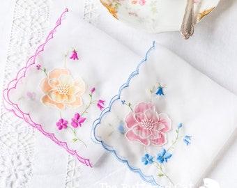 Two vintage floral handkerchiefs, embroidered, appliquéd organza