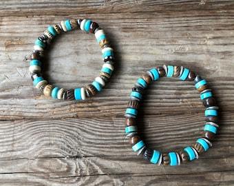 Turquoise & Bone Bracelet Set