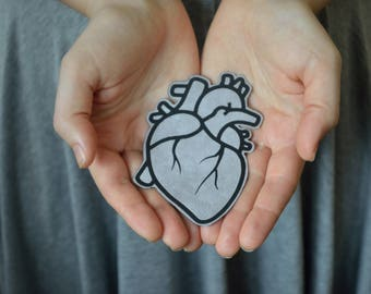 anatomical heart patch iron on patches medical student gift for nurse shirts human heart anatomy biker patch for jacket heart shirt tumblr
