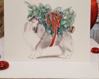 Boxed Rough Collie Dog Holiday Cards