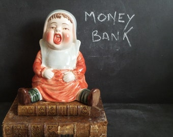 Large Ceramic Money Bank. Vintage money box. French Baby coin bank. Baby gift. Baby shower gift