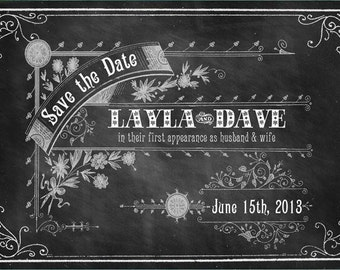 Old School - Printable DIY Vintage Chalkboard Wedding Save the Date Cards - Digital Download - Customized Vintage Victorian Typography