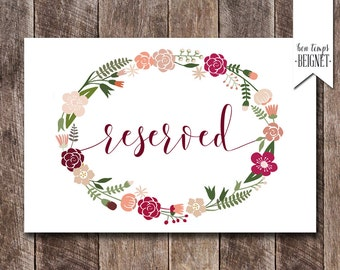 "Reserved Seating Card  - ""Reserved Table"" Printables"