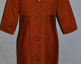 60s him for her shift dress. Shirt Dress. Asian influence.  Men's shirt sheath. Copper orange Bust 38 VFG novelty pockets