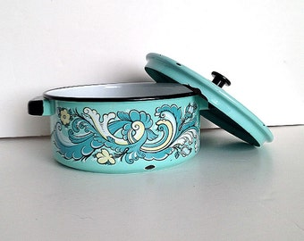 enamelware Turquoise enamel pot hand painted casserole pot with lid